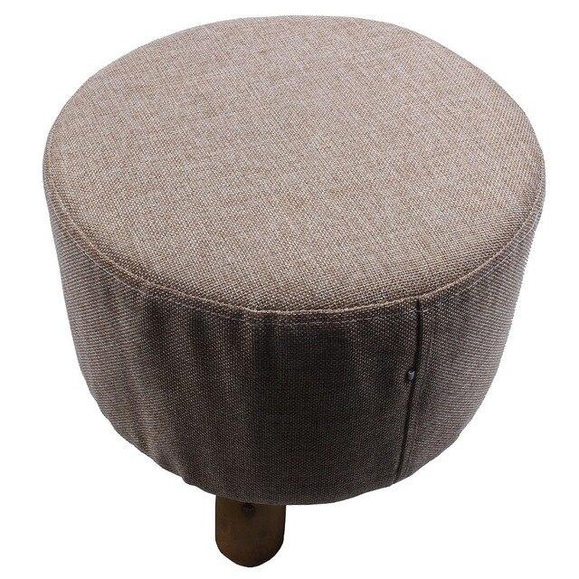 Современная роскошь мягкая подножка круглый пуфик-табурет + деревянные ноги узор: круглый ткань: серый (3 ноги)