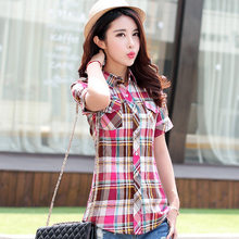 Summer Women Shirts 2018 New 100% Cotton Women's Casual Short Sleeve Shirt Plus Size Blouses Lady Plaid Print Blouse Tops Blusas(China)