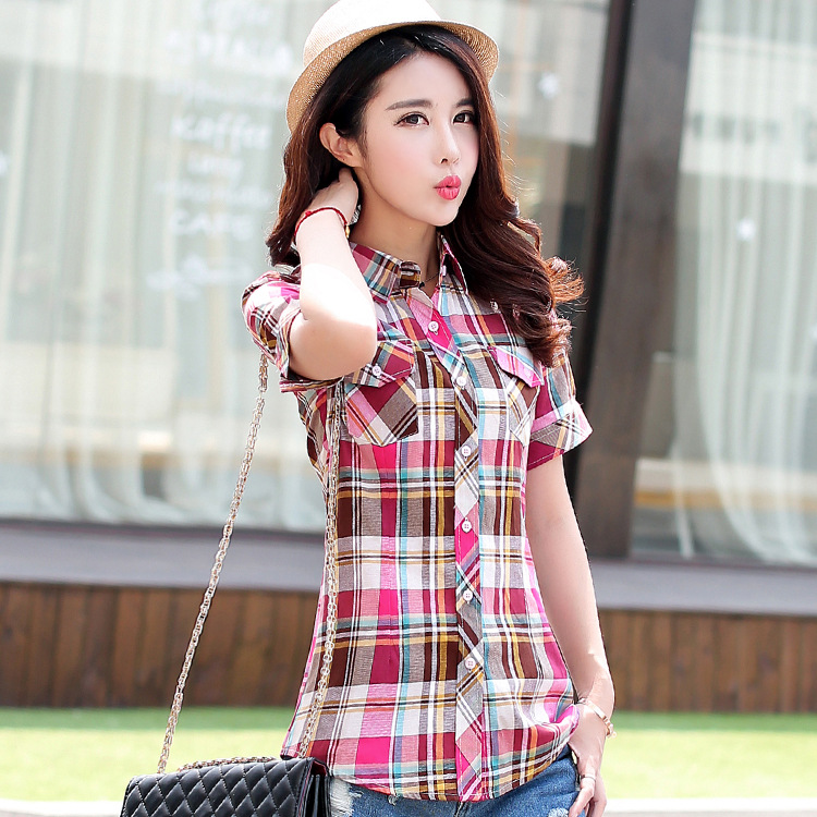 Summer Women   Shirts   2018 New 100% Cotton Women's Casual Short Sleeve   Shirt   Plus Size   Blouses   Lady Plaid Print   Blouse   Tops Blusas