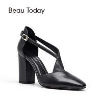 BeauToday D'Orsay Bombas de Las mujeres de la Moda de Primavera y Verano de piel de Becerro de Cuero Genuino de Alta Talón Zapatos de Noche de Fiesta 17010