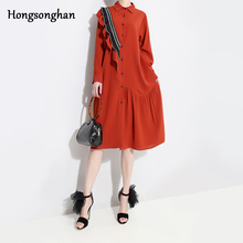 Hongsonghan High Quality Women Dress Long Sleeve Lapel Collar Mori Girl Patch Designs Lacework irregular Elegan Dresses Vestidos