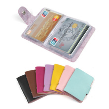 Fashion 24 Bits Useful Business Credit Card Holder PU Leather Buckle Cards Holders Organizer Manager For