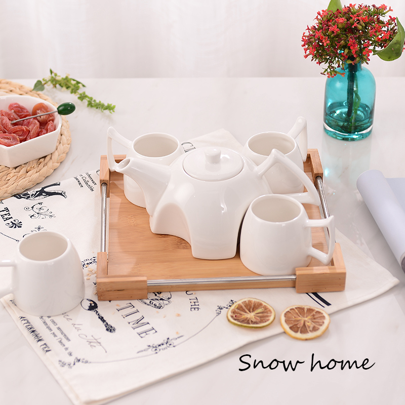 Home Tableware Brief Ceramic Water Cup Set Creative with Wooden Tray Tea Set Coffee Cup Set