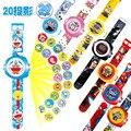 23 см Мульти Стиль Мультфильм Проекции 3D 20 Проекция Автомобилей Котенок Doraemon Игрушки Электронные Часы 24 Изображений Мстители Человек-Паук часы