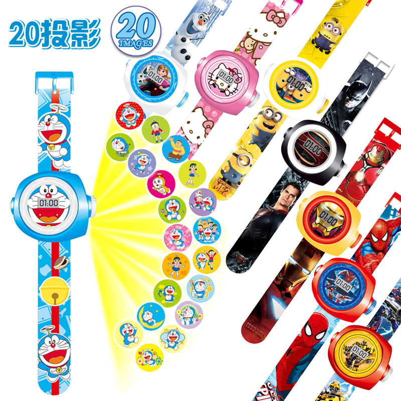 23cm Multi Style Cartoon Projection 3D 20 Projection Car Kitty Doraemon Toy Electronic Watch 24 Images
