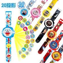 23 см Мульти Стиль мультфильм проекции 3D 20 проекция автомобилей Kitty Doraemon игрушки электронные часы 24 изображения Мстители Человек-паук часы