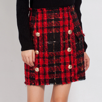 HIGH QUALITY New Fashion 2019 Fall Winter Designer Skirt Women's Lion Buttons Colors Tweed Wool Mini Skirt