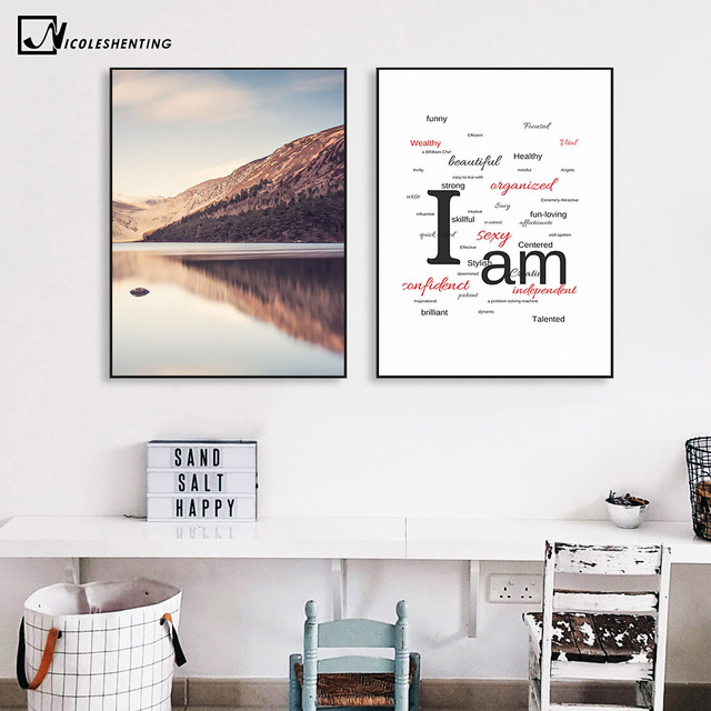 Arte nórdico de Motivación Minimalismo Mountain Lake Sunset Cartel ...
