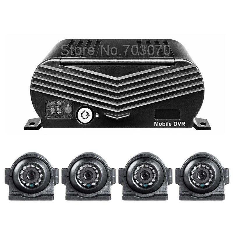 AHD Mobile Car Dvr Kits Free Shipping GPS HDD Video Recorder +4Pcs Night Vision IR CCTV Car Camera Mdvr For Bus Forklift Taxi