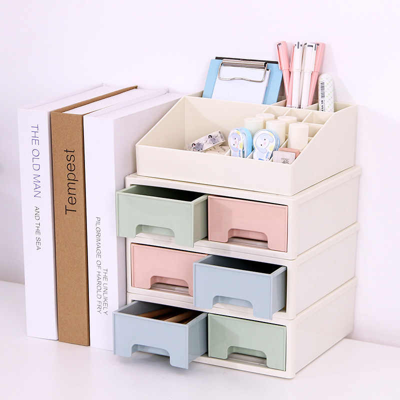 Coloffice Japanese-style plastic drawer cabinets desktop debris storage box Office student stationery stationery storage box 1pc