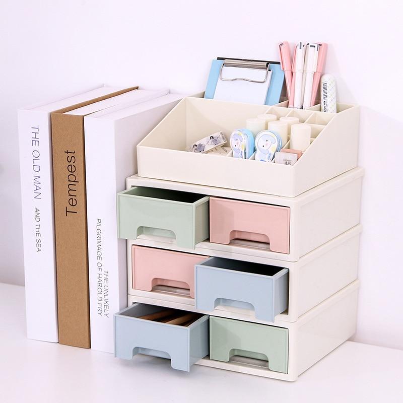 Coloffice Japanese-style Plastic Drawer Cabinets Desktop Debris Storage Box Office Student Stationery Stationery Storage Box 1pc