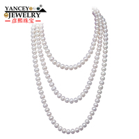 YANCEY Fashion Classic Natural Freshwater Pearl Necklace 7 8mm 120cm 160cm Long Long Section Of Nearly