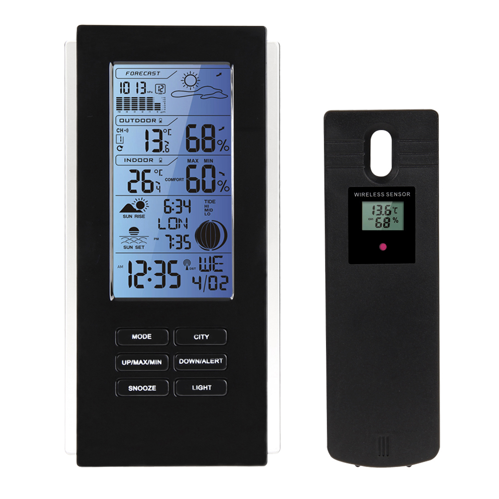 Indoor Outdoor LED Wireless Weather Station Sensor Thermometer Hygrometer Barometer RCC Temperature Humidity Meter Frost Alert top brand luxury men skeleton mechanical watch gold skeleton vintage watches hollow automatic self wind wrist watch man clock