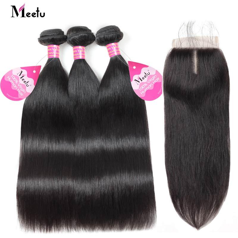 Meetu Brazilian Straight Hair Bundles with Closure 100 Human Hair Bundles with Closure 3 Bundles with