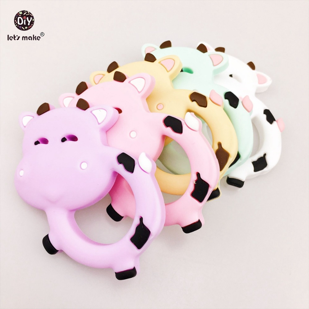Lets Make Baby Accessories Silicone Teether Dairy Cows 10pc Milk Cows Teething Baby Shower DIY Necklace Pendants Baby Teether