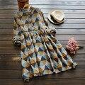 Геометрические печати литературный vintage стенд воротник длинным рукавом A-Line платье mori девушка 2016 осень