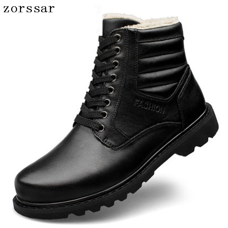 {Zorssar} mens snow boots winter warm plush velvet waterproof non-slip 2018 new Martin boots male casual men ankle boots