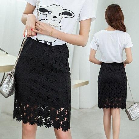 ceeed5dfb1 Women's High Waist Pencil Skirt 2016 New Lady Cutout Crochet Lace Slim Hip  Step Skirt Bust Skirt For Female Black White
