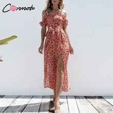 Conmoto 2019 ruffles 시폰 프린트 여성 점프 슈트 feminino off shoulder jumpsuits rompers 스플릿 보우 투명한 점프 슈트