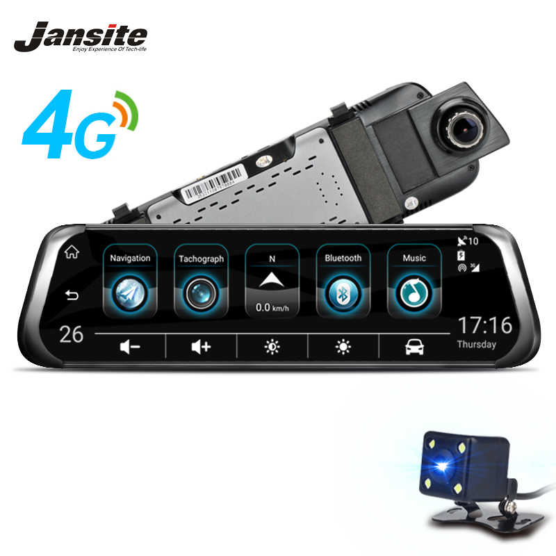 "Jansite 4G WIFI Smart Car DVR 10 ""Touch Screen Android Media Stream Frontal Vista Traseira Espelho FHD 1080 P ADAS dvrs carro de Lente Dupla GPS"