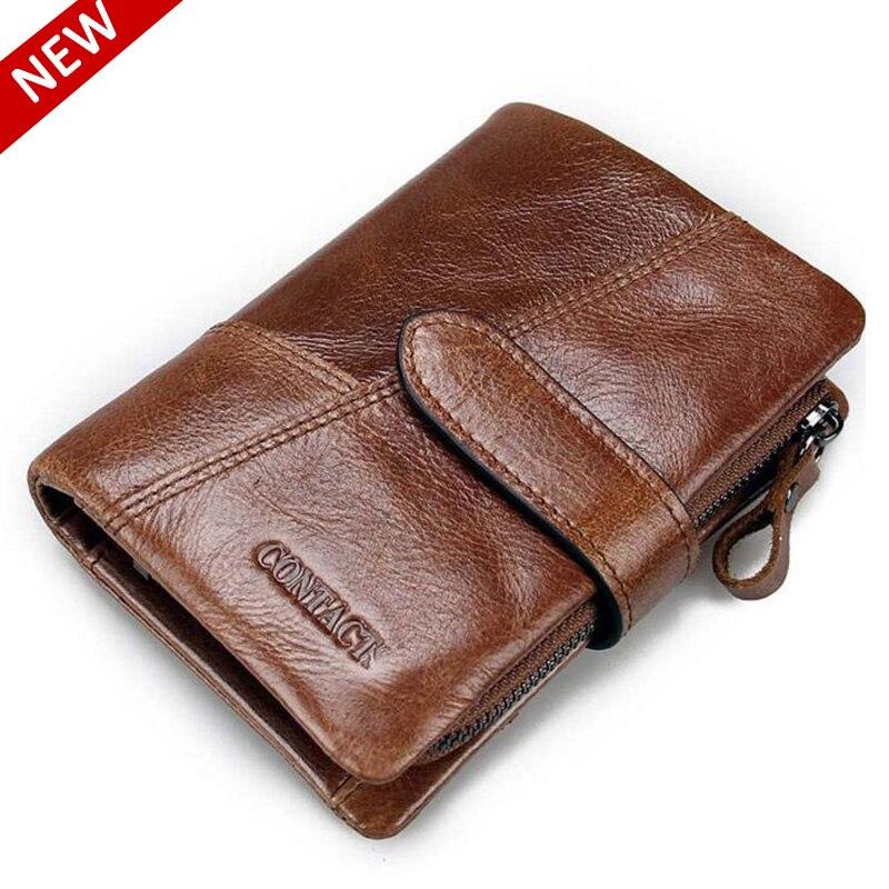 ФОТО HOT! Genuine Men's Wallet Crazy Horse Cowhide Leather Short Coin Purse Small Vintage Wallet Card Holder Zip Brand Designer