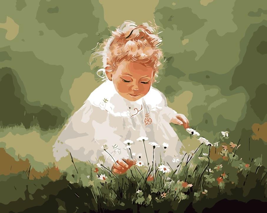 Bella foto del bambino infanzia Pittura A Olio picture By Numbers modulo Immagini Colorazione a mano Regalo Unico per il capretto Decorazione Della Casa
