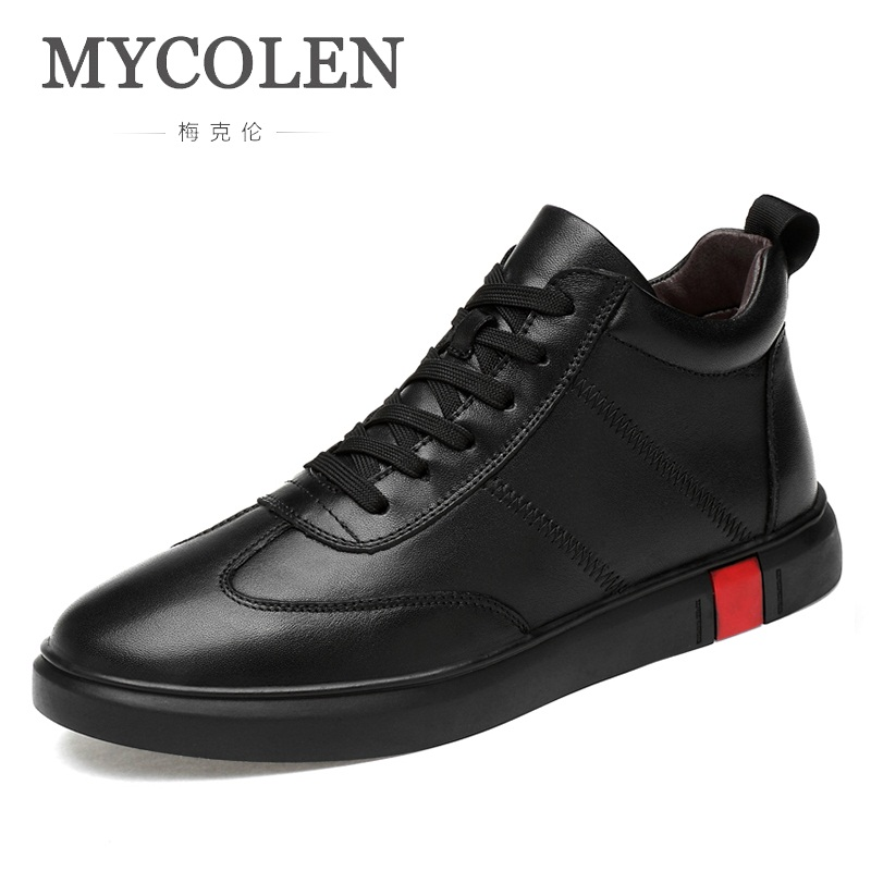 MYCOLEN 2018 New Arrivals Winter High Top Split Leather Shoes Mens Casual Shoes Youth Solid Lace Up Black Shoes Mens Trainers