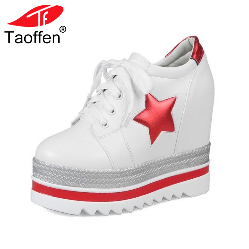 TAOFFEN Size 34-39 High Heels Women Shoes Platform Wedges Shoes Pumps Lace Up Stars Casual Shoes Cut Out Square Toe Fashion Pump lace up women shoes pumps new spring autumn round toe female casual high heels casual shoes platform woman size 43