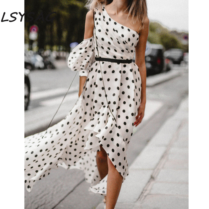 LSYSAG Summer Women Long Dress Bohemia Clothing Oblique Collar Chiffon Off Shoulder Beach Polka Belt 2018 Elegant Fashion White