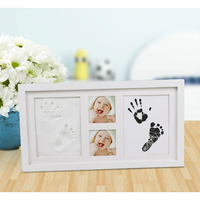 Baby Non Toxic Clay Footprint Handprint Souvenirs Wooden Photo Frame With Imprint Kit Mud Set Baby Growth Memorial DIY Gift