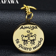 Amiga te Quiero Mucho Stainless Steel Keyrings for Women Friend Gold Color Key Accessories Jewelry llaveros para mujer K77624B