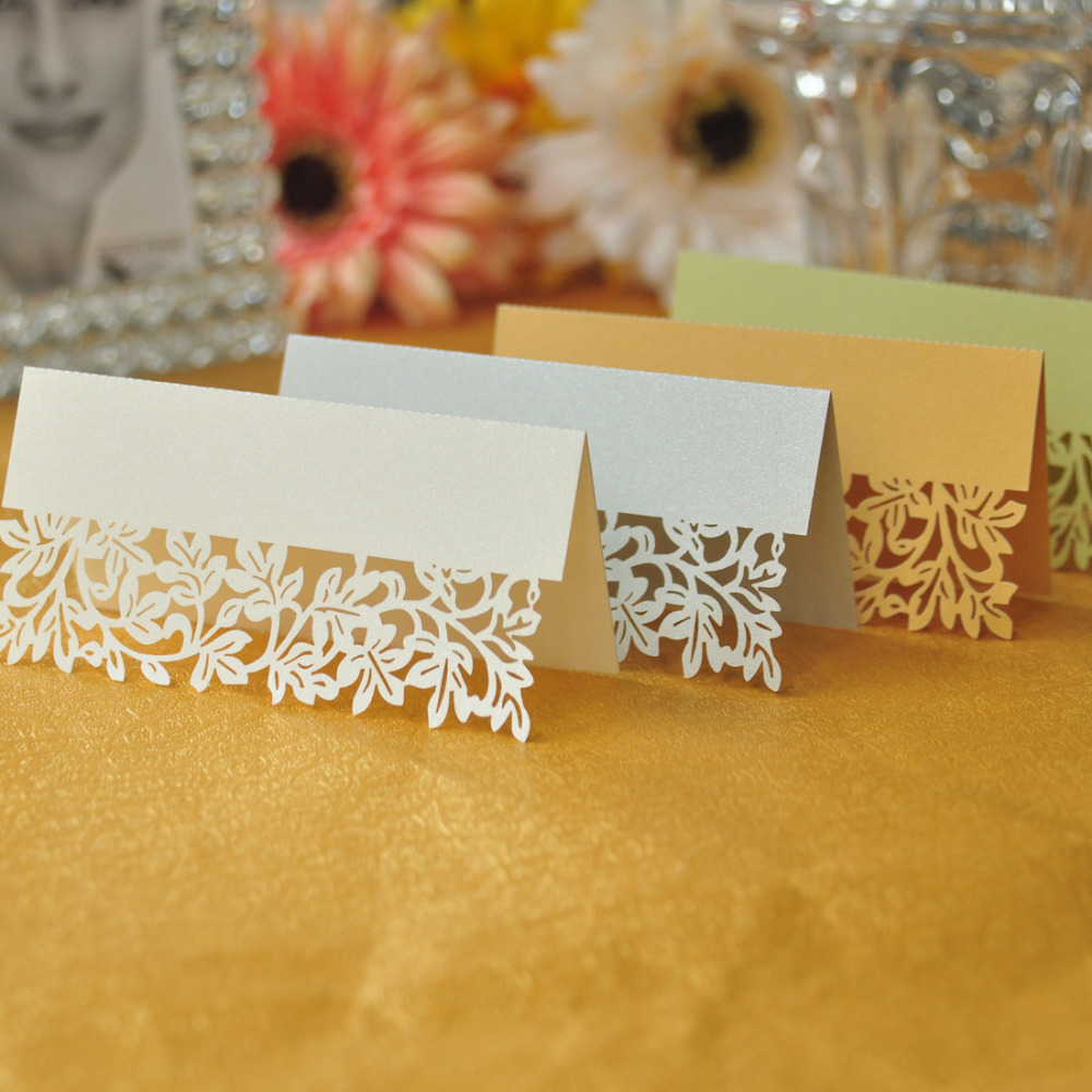 Wholesale 100pcs/lot Ivory Leaf Table Name Place Card Recycled Paper For Party Wedding Event Lace Cut Guest Names Mark Cards 2pc lot high quality paper confetti machin shooter launcher for wedding disco dj party event decoration
