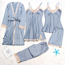 Seksowna damska szata i suknia ustawia jesień zima 4 i 5 sztuka piżamy zestawy bielizna nocna damska zestaw snu szlafrok ze sztucznego jedwabiu Femme bielizna