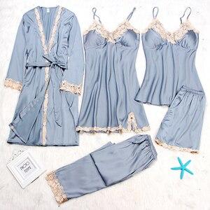 Image 1 - Sexy vrouwen Robe & Gown Sets Herfst Winter 4 & 5 Stuk Pyjama Sets Nachtkleding Womens Slaap Set Faux zijden Gewaad Femme Lingerie