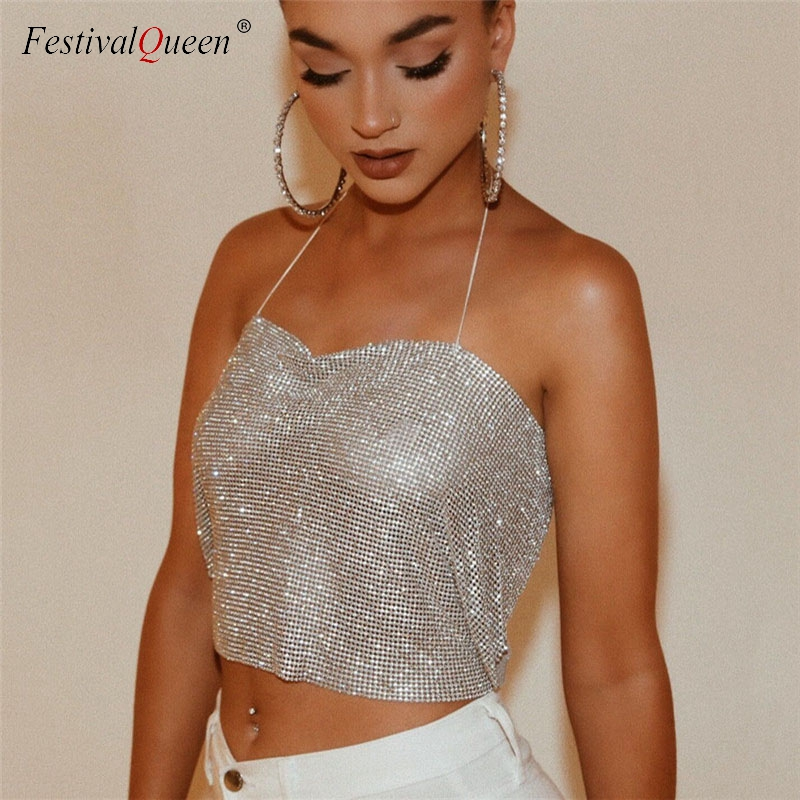 Women Sexy Crop   Top   Backless Bling Metallic Sequin Shiny Gold   Tank     Top   Vest Rhinestone Night Club Party Chain Camisole