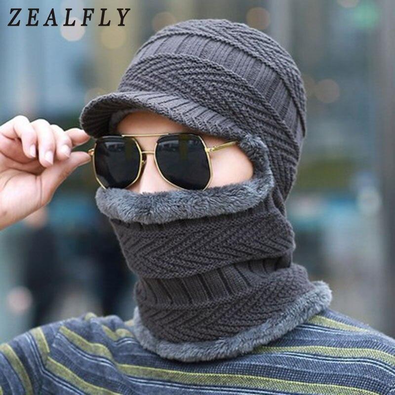 New Hot Knitted Hat Balaclava Scarf Cap Neck Warmer Winter Hats For Men Women   Skullies     Beanies   Super Warm Fleece Mask Dad Cap