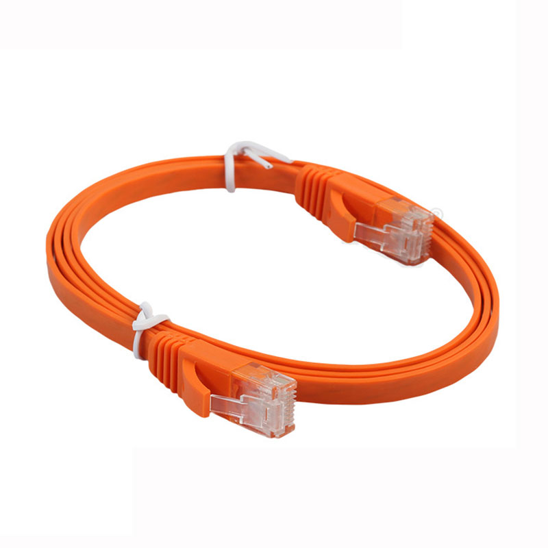 RJ45 Flat Cat6 Ethernet Gold Plated Ultra-thin Network LAN Cable Orange Color