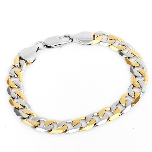 Vogue 2 tone stainless steel cuban curb chain bracelet  yellow/gold white gold plated jewelry for men women