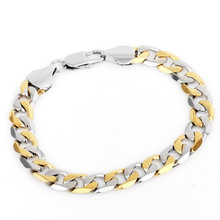 Vogue 2 tone stainless steel cuban curb chain bracelet 18k yellow/gold platinum plated jewelry for men women