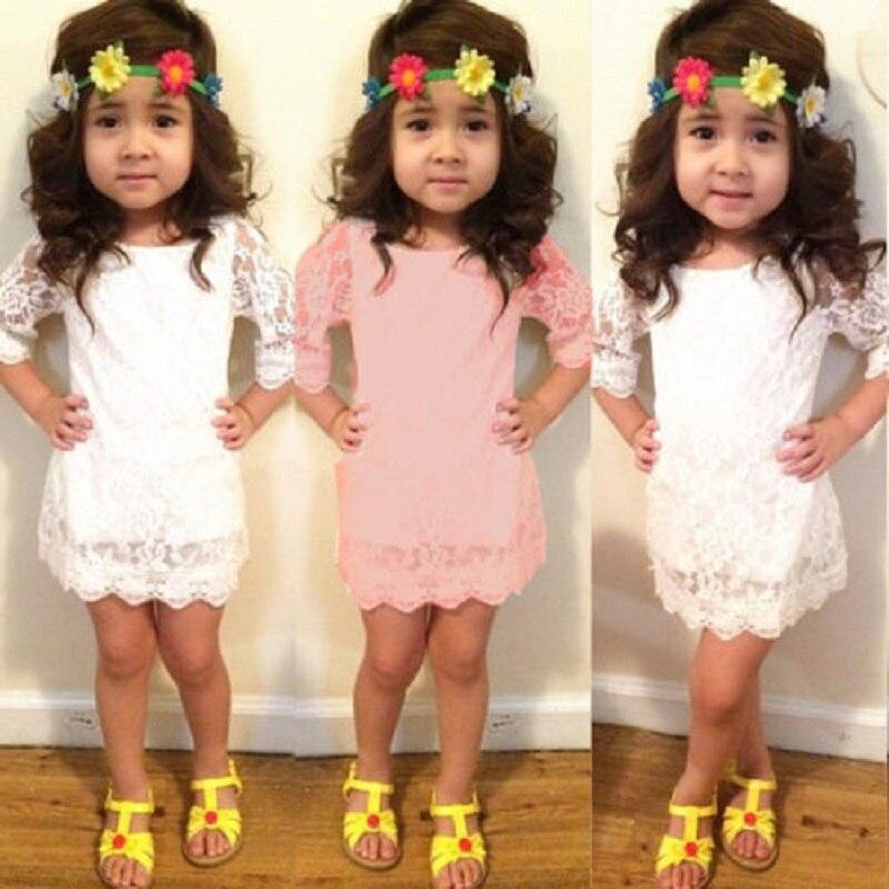 2016 3-7Y Toddler Baby Girls Kids Tutu Crochet Lace Dress Long Sleeve Princess Dress Girls Clothes Autumn Children Wedding Dress