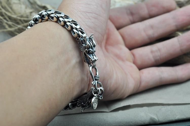 925 Sterling silver charms men bracelet Real 925 sterling silver double retro punk rock retro style men's jewelry bracelet men 925 sterling silver couple retro dragon bracelet
