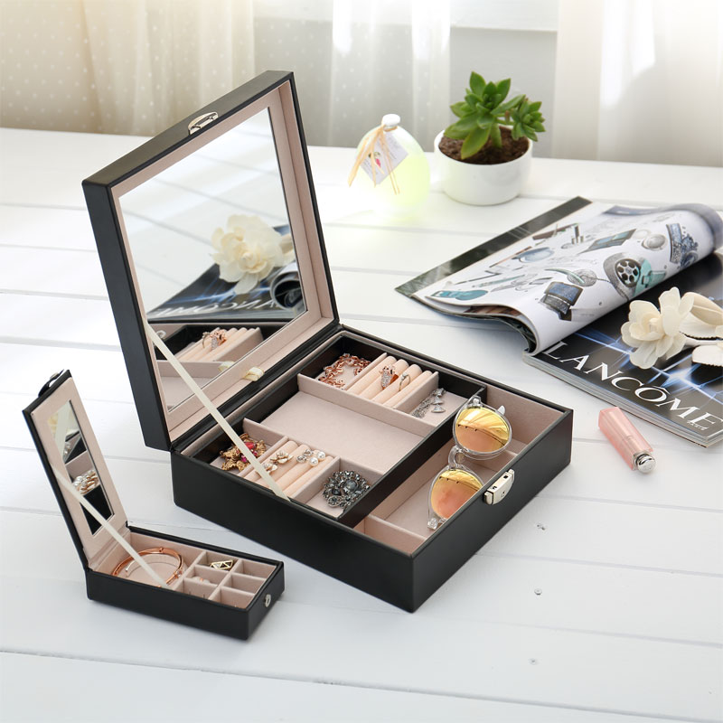 Multi lattice watch organizer with jewelry storage Box organizer jewelry sort Box With mirror Storage gift Casket box