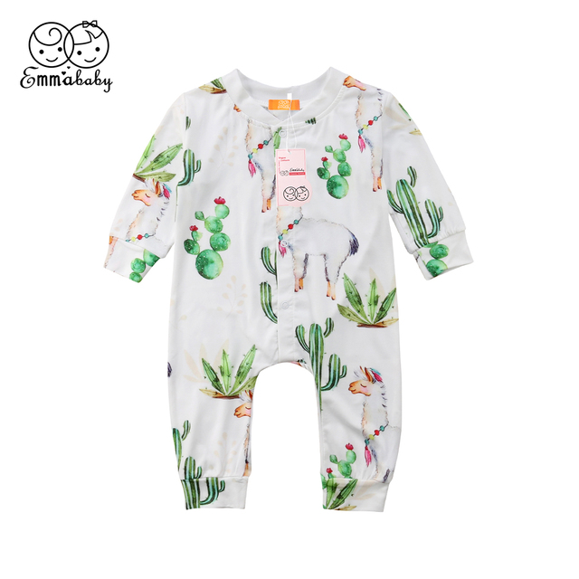 11c335751a73 Toddler Cactus Kids Baby Girl Alpaca Long Sleeve Romper Jumpsuit Pants  Clothes Outfit Newborn Rompers