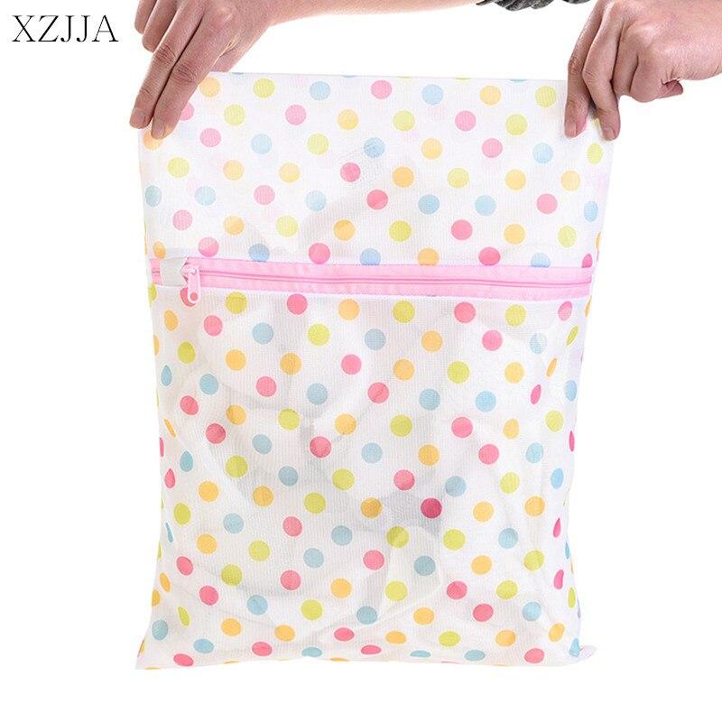 XZJJA 2PC Round Dots Zipper Laundry Bags Women Bra Underwear Washing Machine Mesh Bag Washing Pouch Clothes Protector Net Case