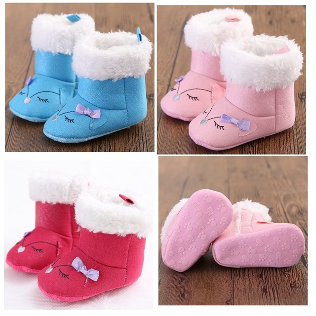 2016 New Fashion Super Warm Winter Baby Ankle Snow Boots Infant Red Pink Smiling Face Antiskid Keep Warm Baby Shoe First Walkers