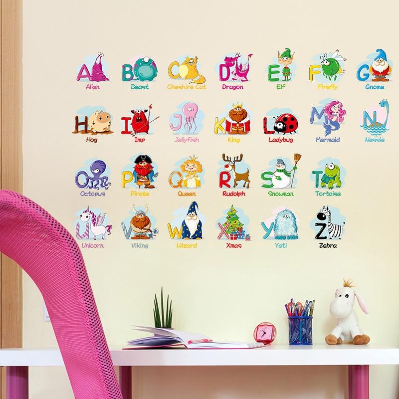 Творческий головоломки раннего обучения английские буквы настенные наклейки Животные наклейки Детская комната Декор ясли diy Съемный