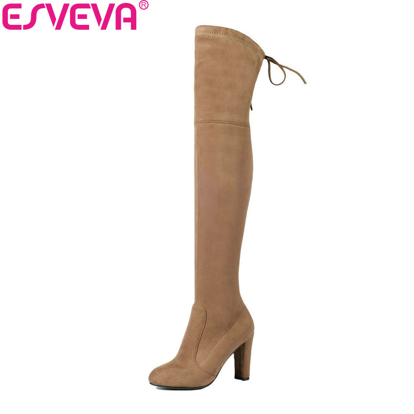 ESVEVA 2018 Women Boots Western Style Over The Knee Boots Square High Heel Winter Thicker Warm Ladies Lace Up Boots Size 34-43 esveva 2017 western style flock women boots over the knee boots winter square high heel ladies lace up fashion boots size 34 43