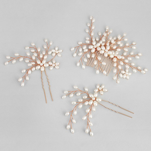 Dower Me Rose Gold Bridal Pearls Hair Comb Jewelry Fashion Wedding Pins Accessories Women Headpiece