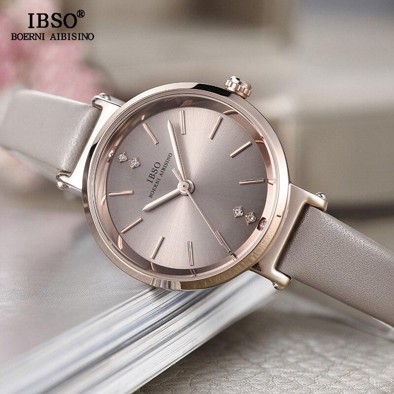 IBSO marque 8 MM Ultra-mince femmes montres bracelet en cuir de luxe dames Montre à Quartz femmes mode Femme Colck Montre Femme 2019