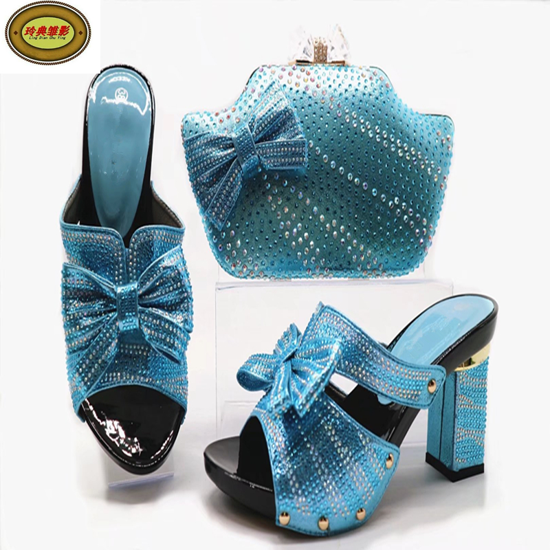 G52 Sky blue Top Quality Italian Shoes And Bag Set For Party 2017 Hot Style African Woman Sandals Heels Matching Bag Free Shippi italian shoes and bag set for party 2017 hot style african woman sandals heels matching bag free shipping